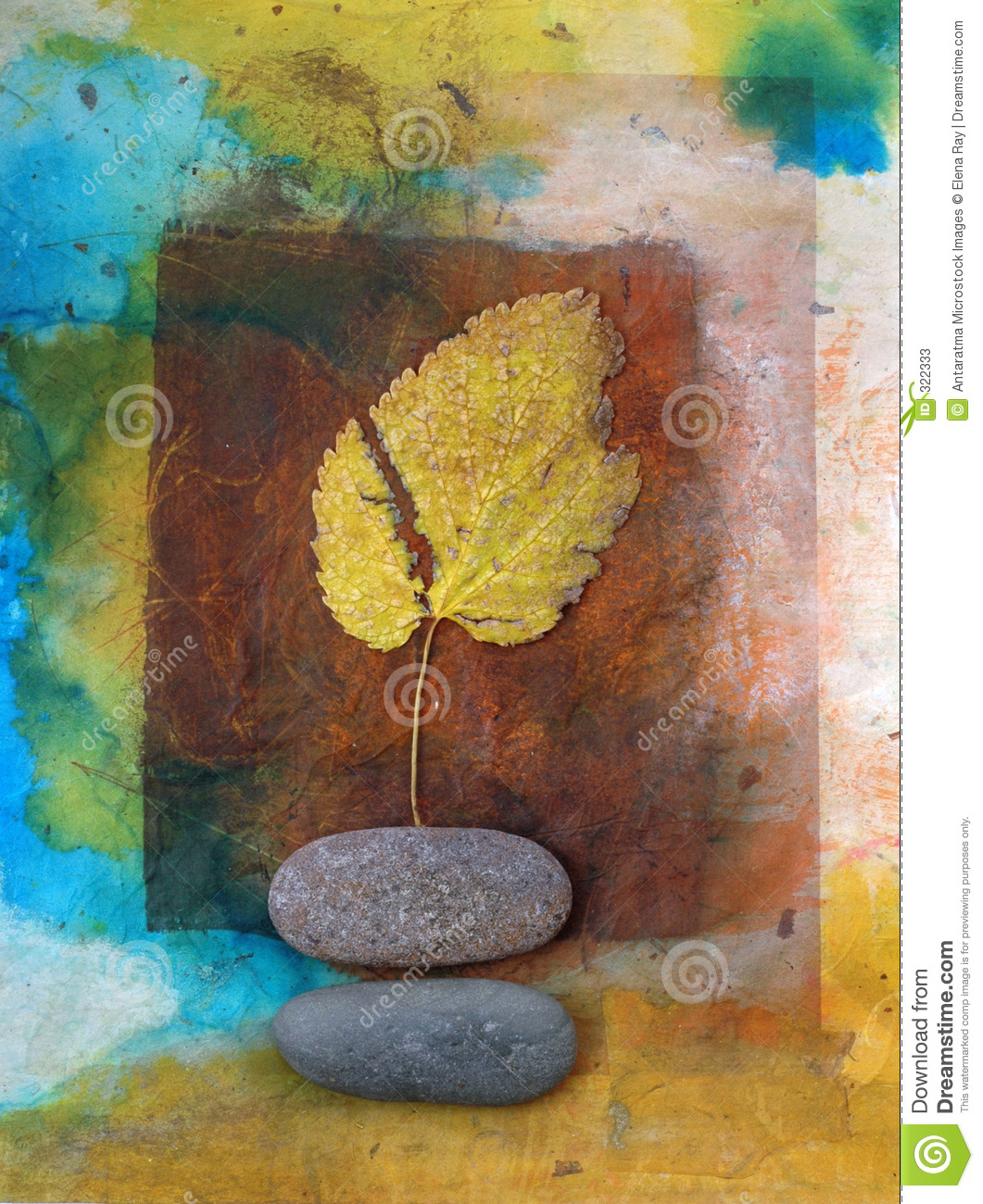 Yellow Leaf and River Stones