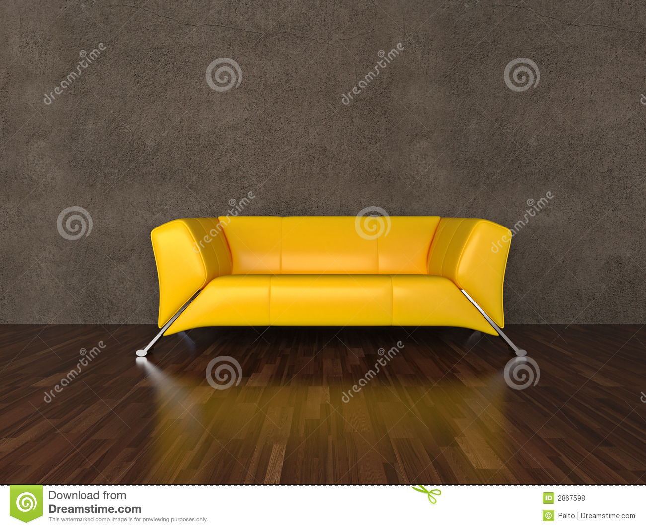 Royalty Free Stock Photo. Download Yellow Leather Sofa ...