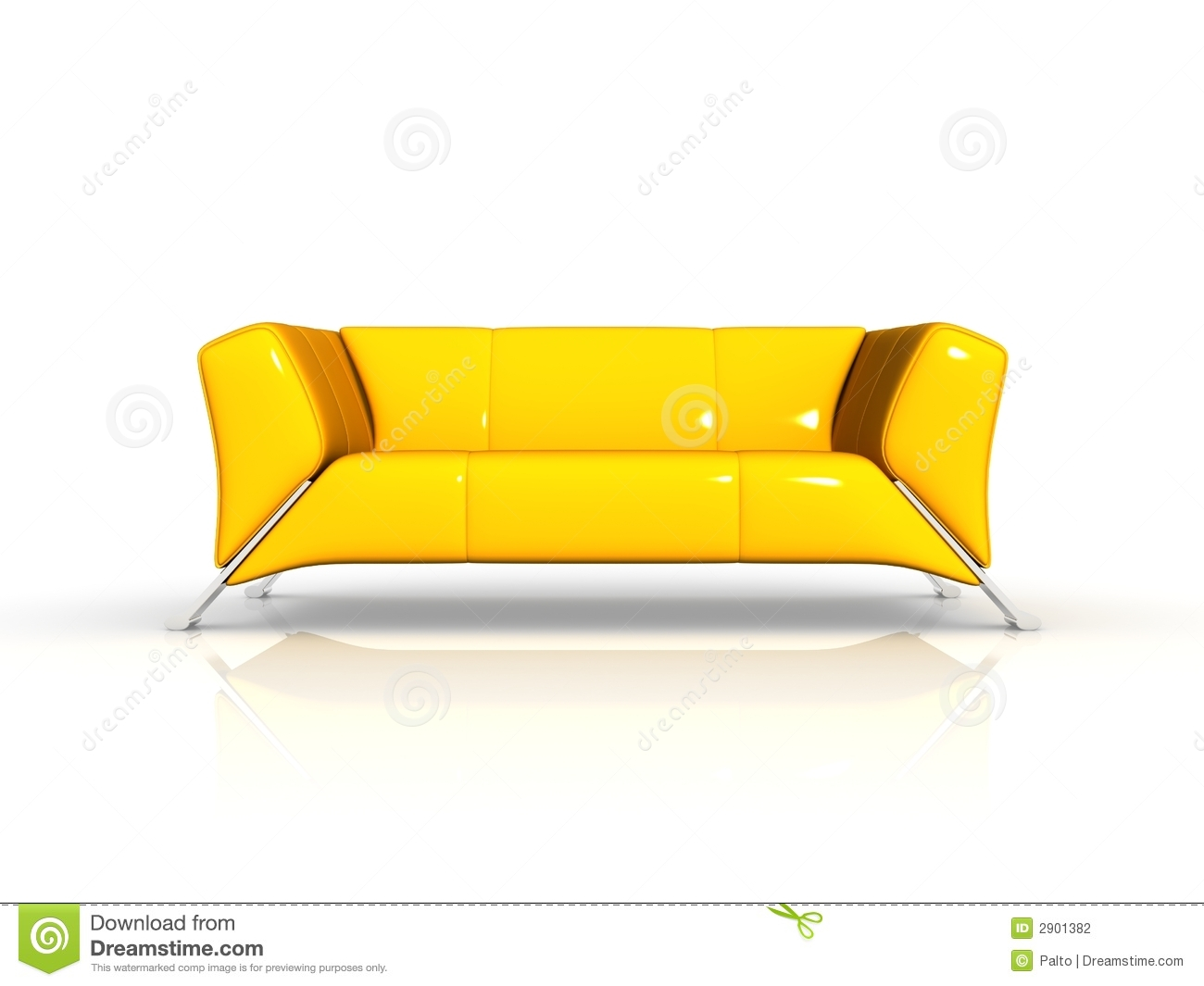 Yellow Leather Sofa Stock Photography Image 2901382