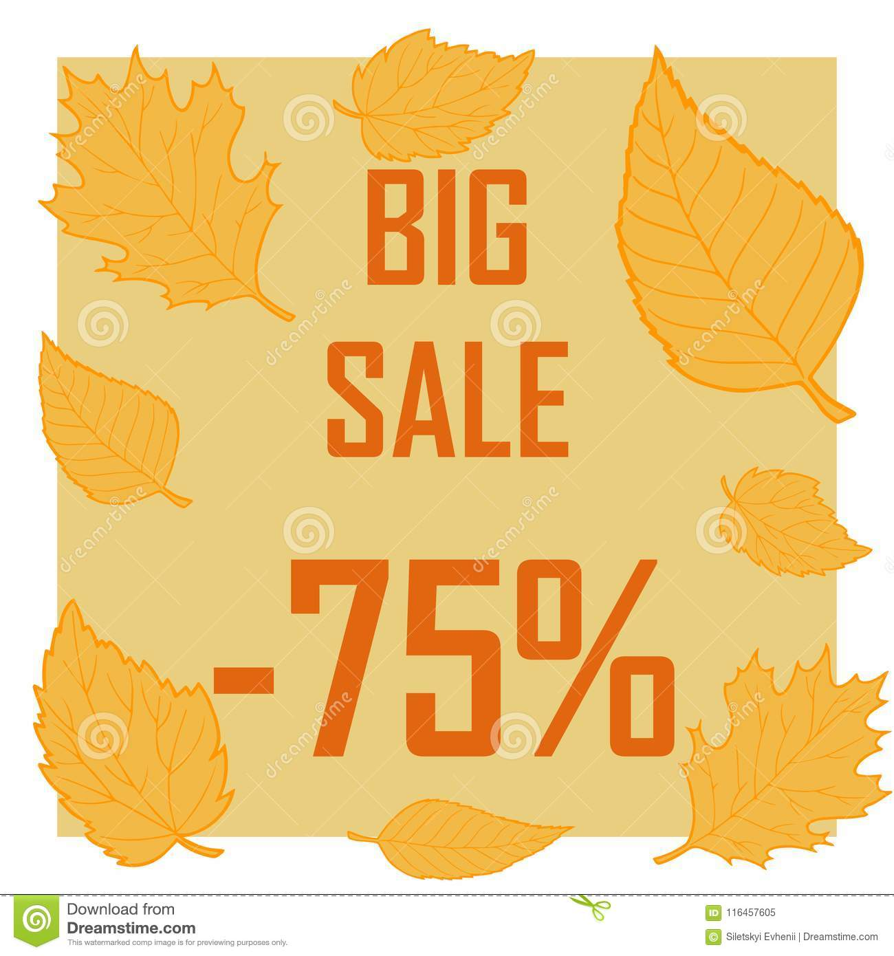 Yellow leaves on a brown background and the inscription is a big resale for 75 percent
