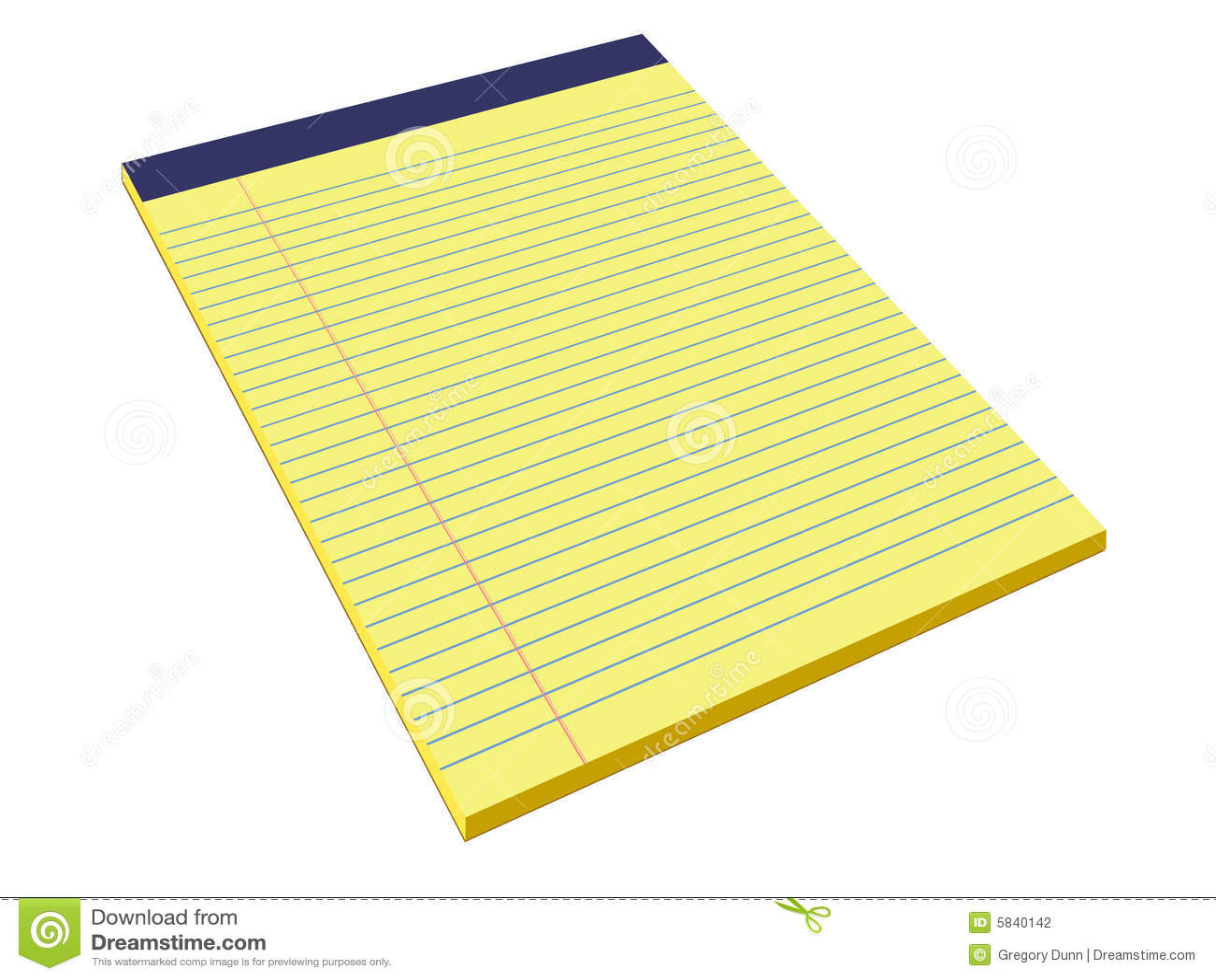yellow legal pad stock illustration. illustration of margin - 5840142