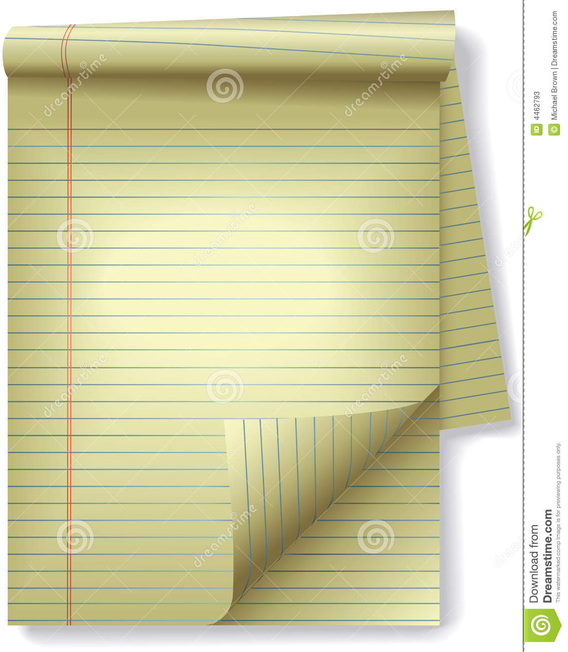 Yellow Legal Pad Corner Paper Page Curl Spotlight Lined Stock