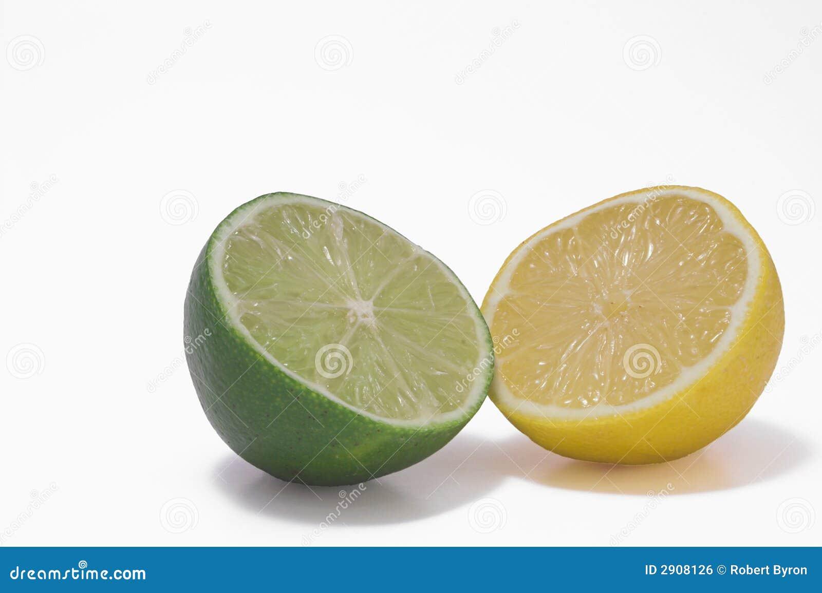 Yellow Lemon & Green Lime Royalty Free Stock Image  Image