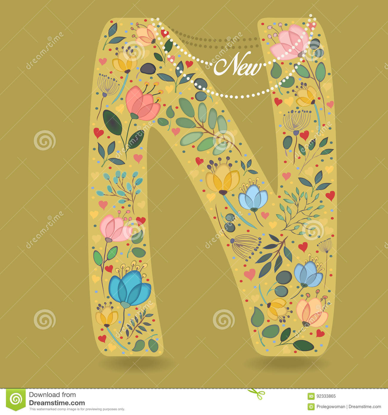 Yellow letter n with floral decor and necklace stock for Letter n decorations