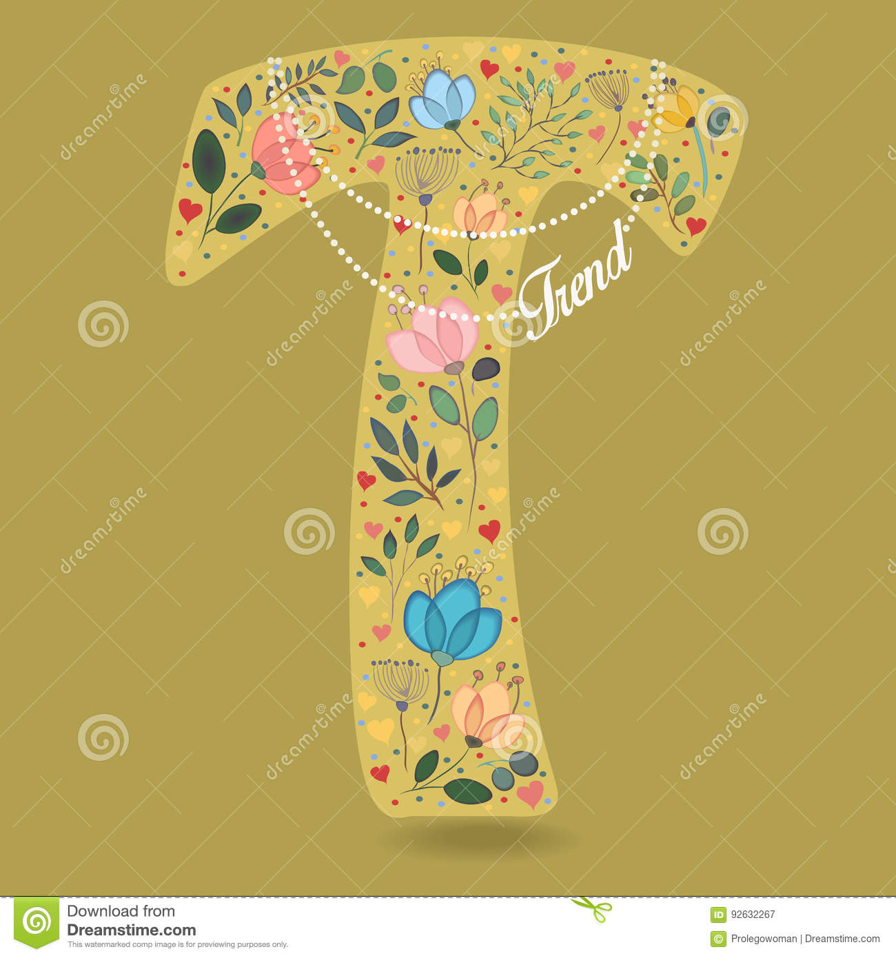 Yellow letter t with floral decor and necklace cartoon for Letter t decoration