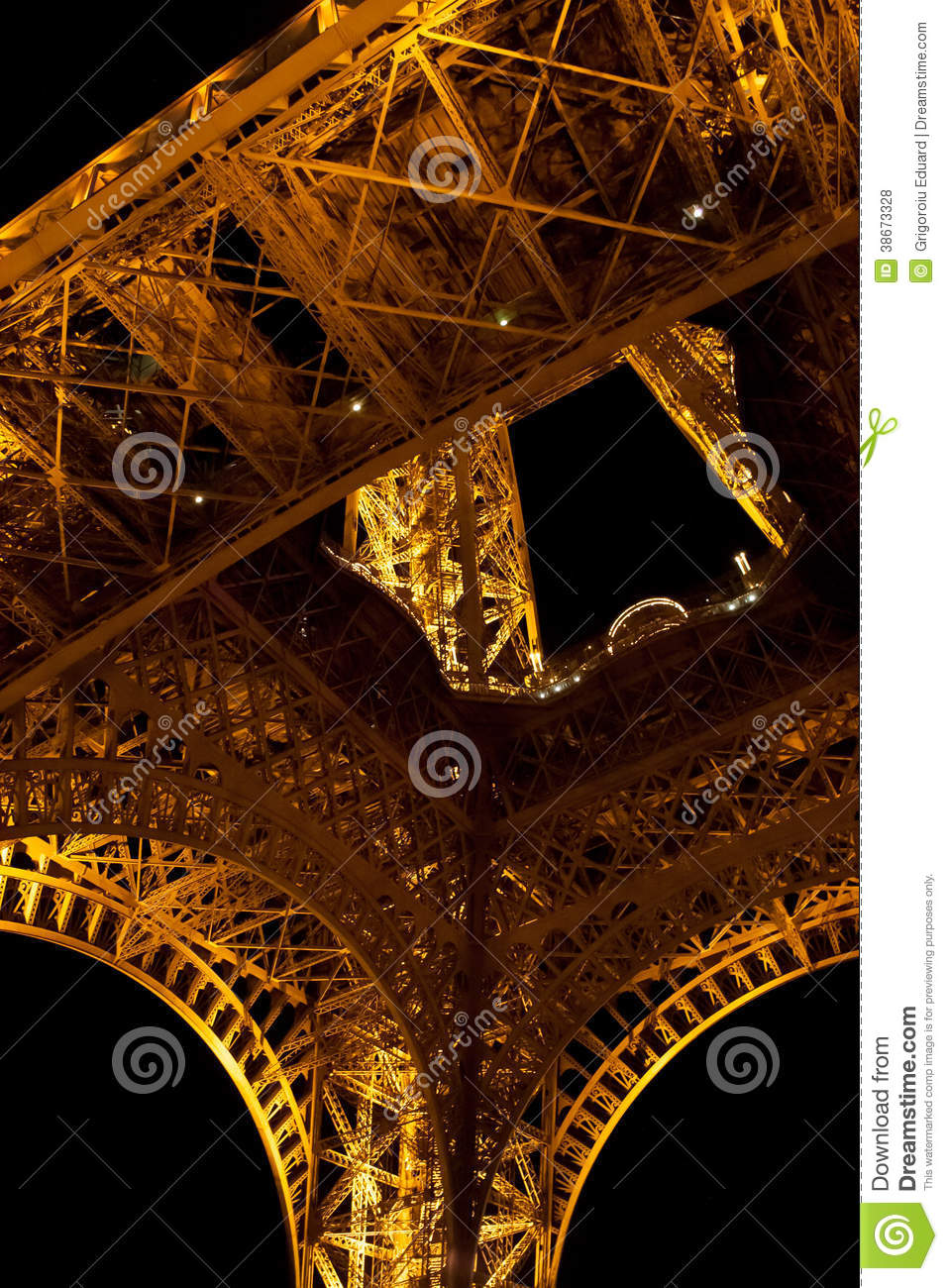 Yellow lit steel structure from under eiffel tower editorial stock photo im - Structure lit 160x200 ...