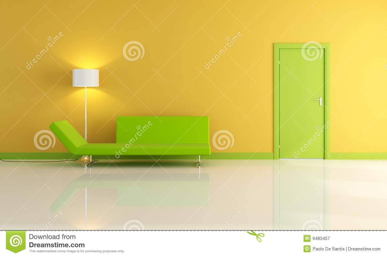 Green and yellow living room - Yellow Living Room With Green Door Royalty Free Stock Photography