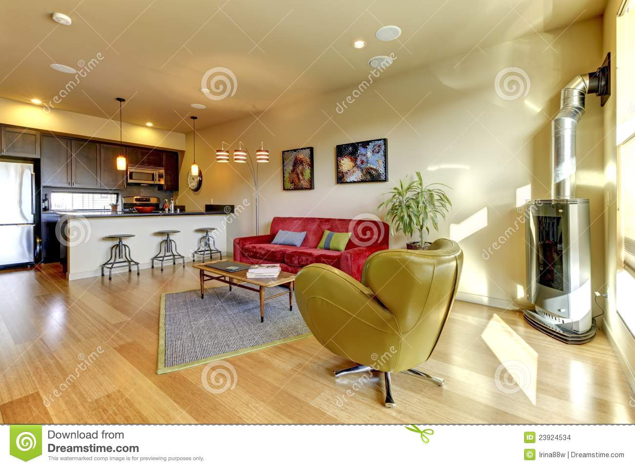 Living Room With Red Sofa Yellow Living Room Ith Red Sofa And Kitchen Royalty Free Stock