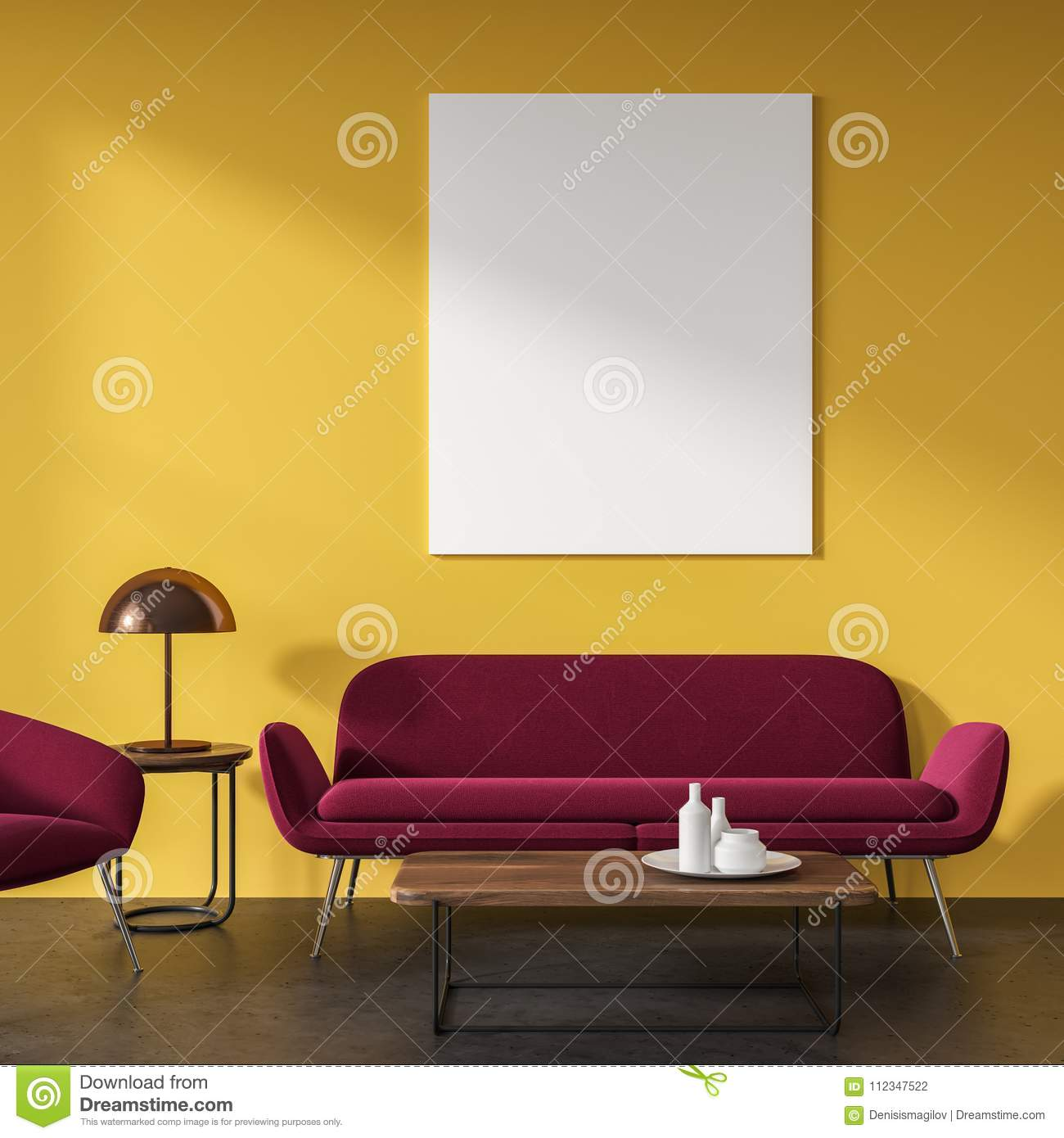 Yellow Living Room, Red Sofa, Poster Stock Illustration ...
