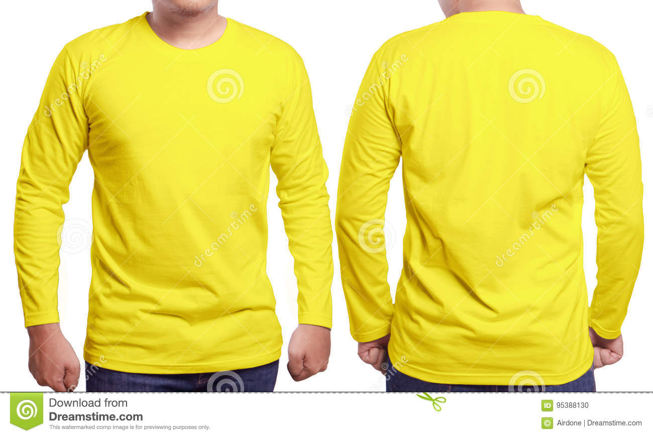 Yellow Long Sleeved Shirt Design Template Stock Photo - Image ...