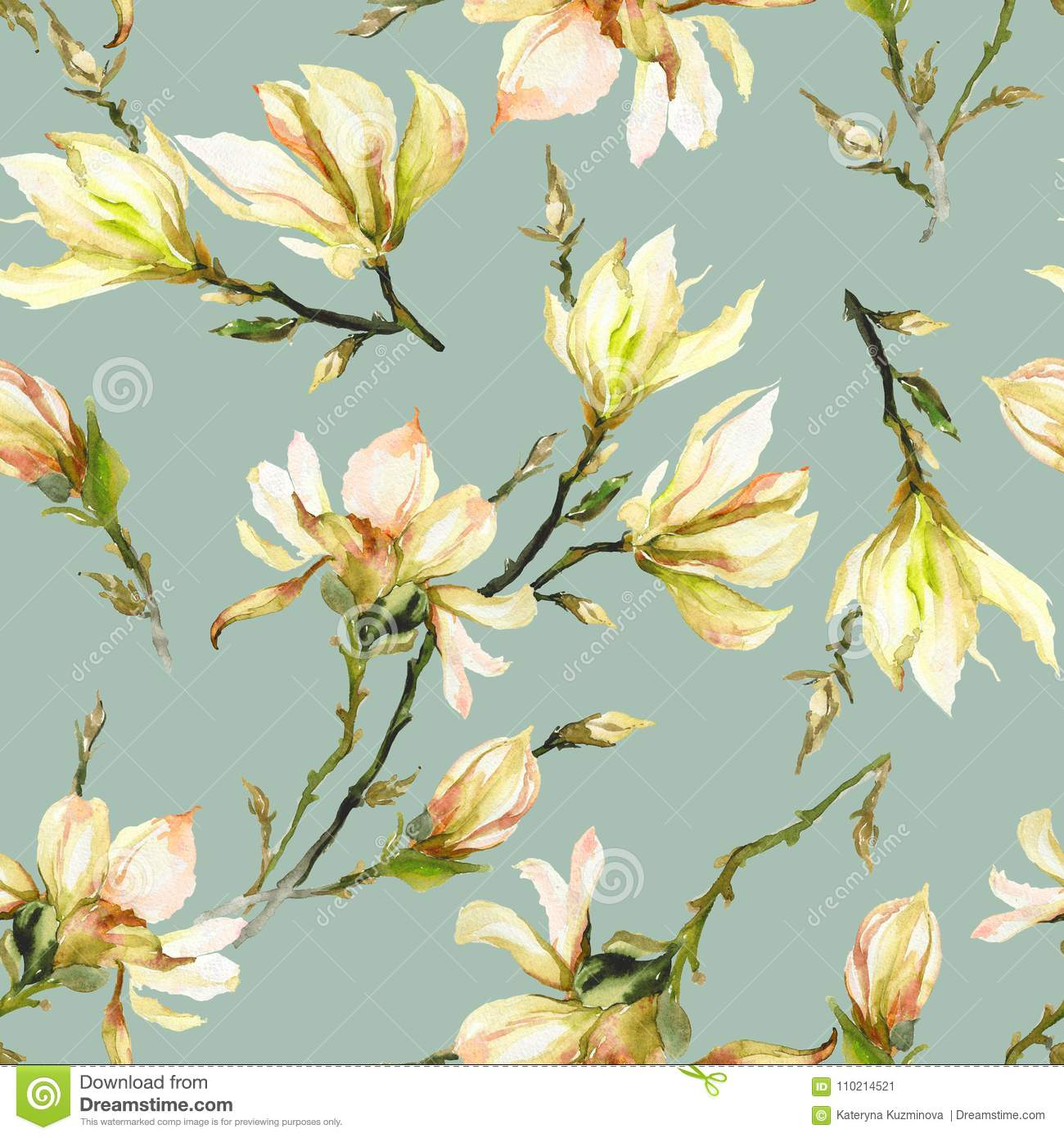 Yellow Magnolia Flowers On A Twig On Light Green Background ...