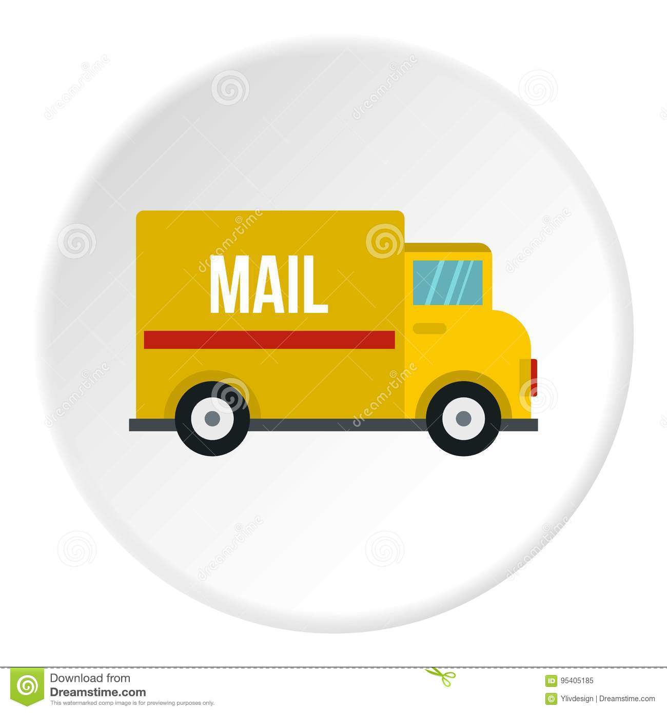 Yellow Mail Truck Icon Circle Stock Vector