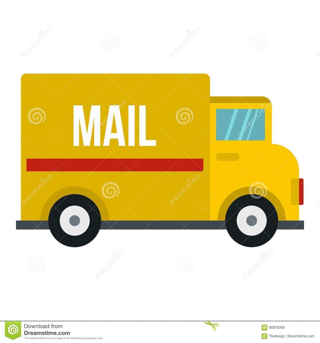 Yellow Mail Truck Icon Stock Vector. Illustration Of