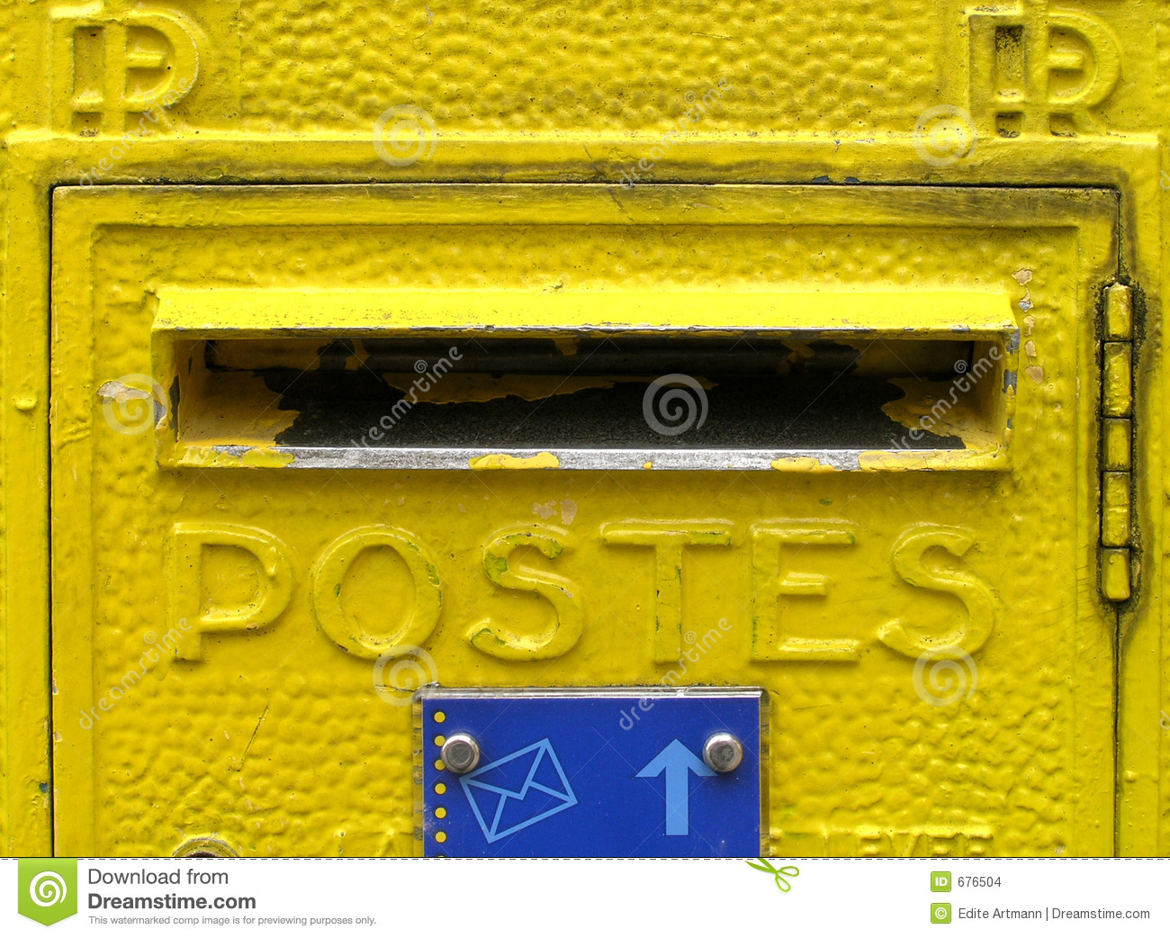 Yellow mailbox in France