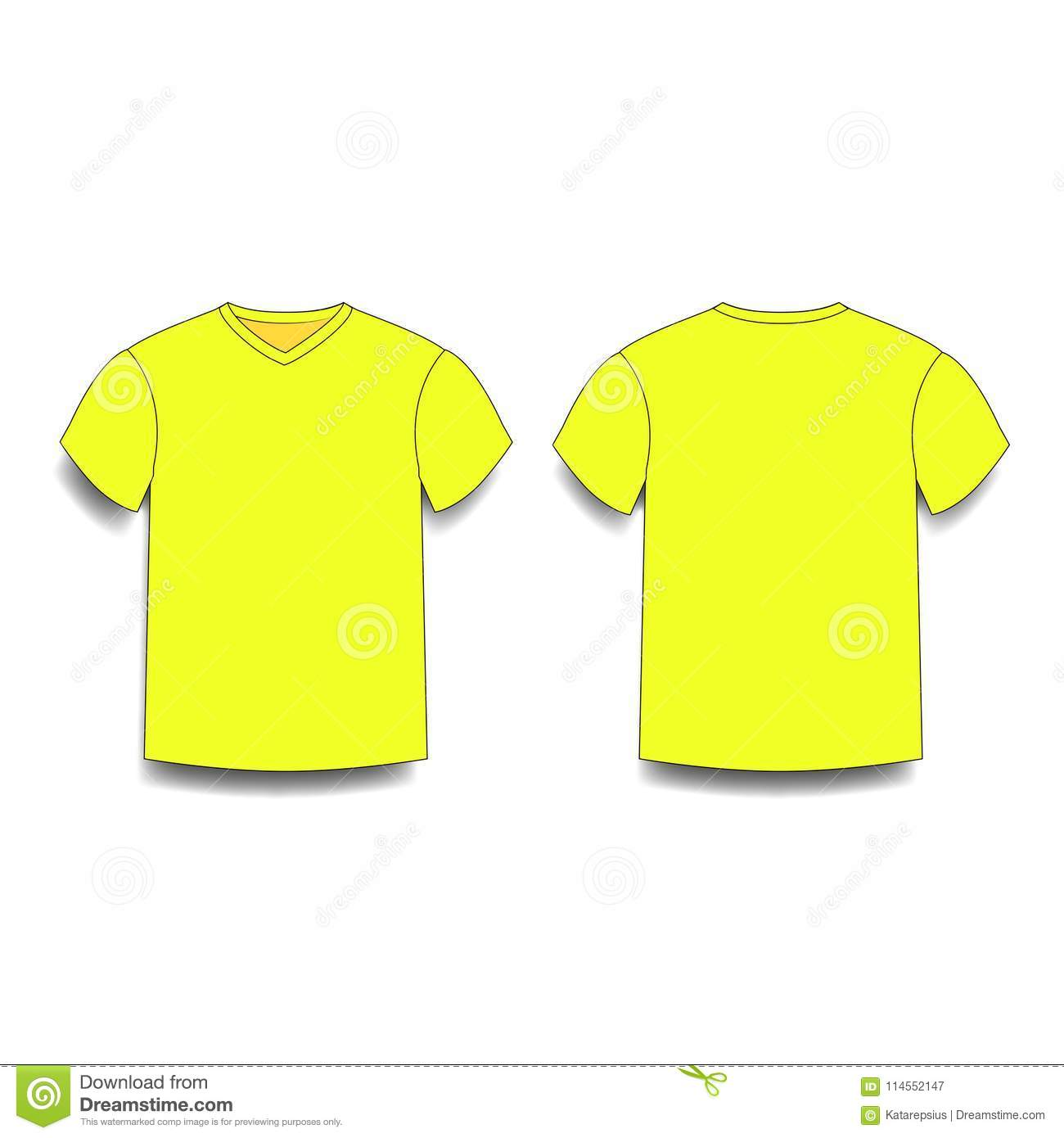 Yellow Male T Shirt Template V Neck Front And Back Side Views