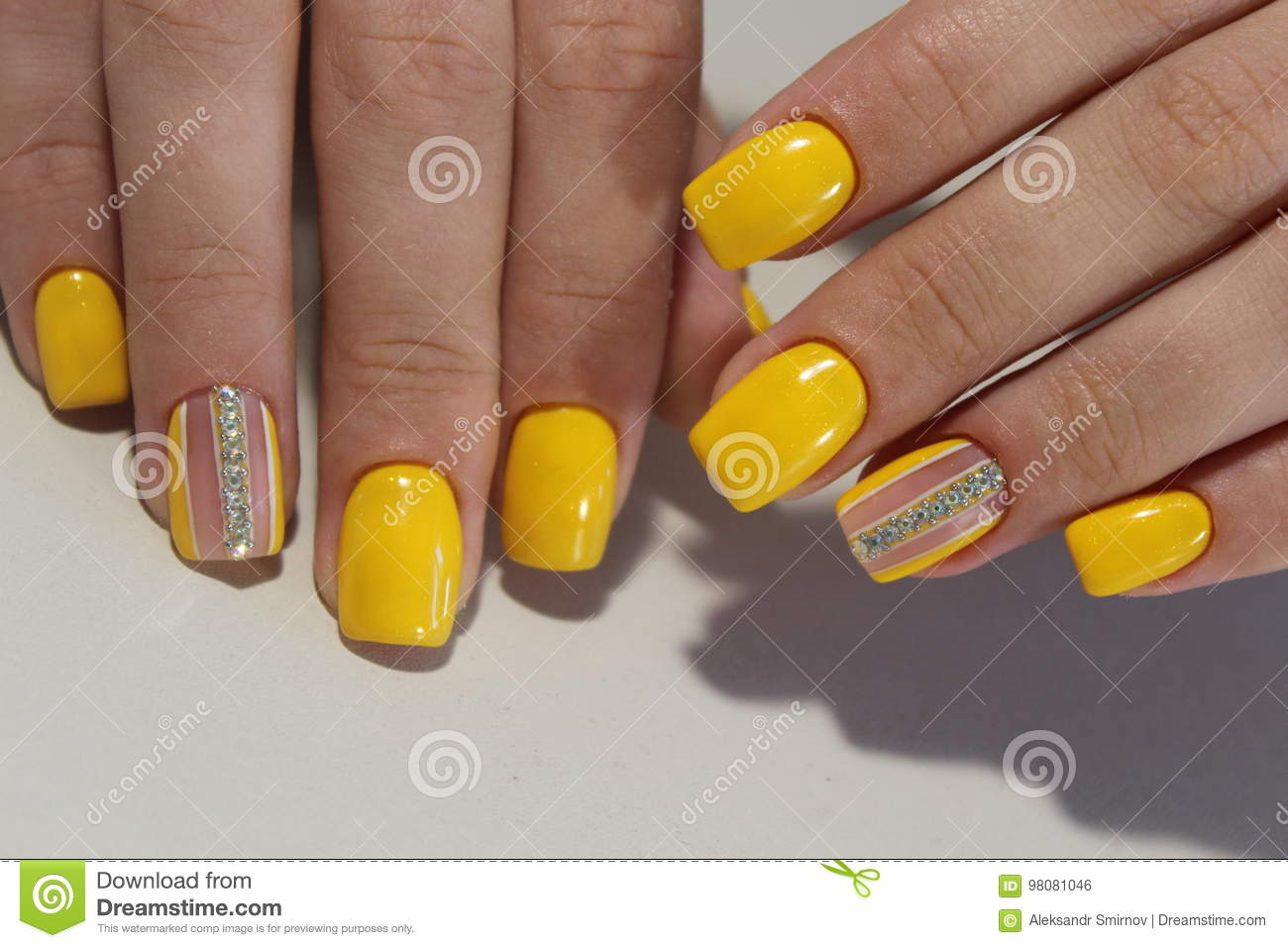 Yellow Manicure Nail Design With Stones Stock Photo Image Of