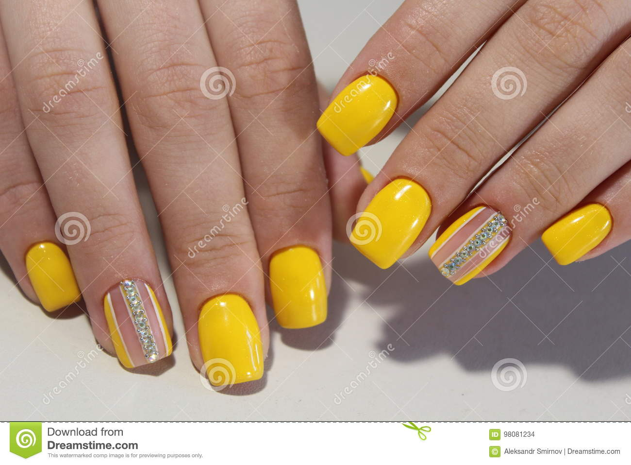 Yellow Manicure Nail Design With Stones Stock Photo - Image of ...