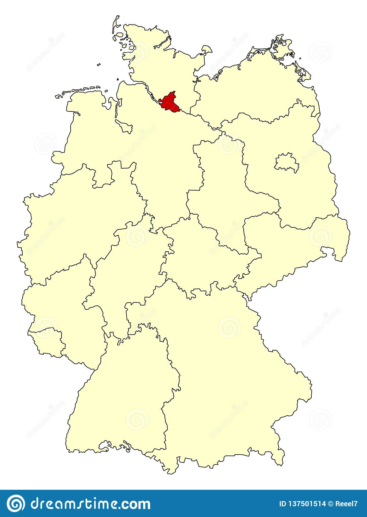 Map Of Germany With States.Yellow Map Of Germany With Federal State Hamburg Isolated In Red