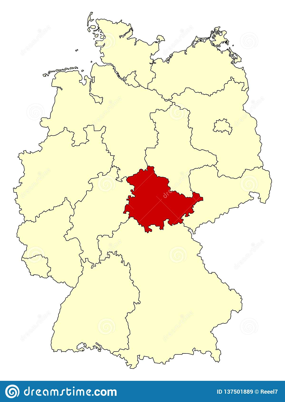 Map Of Germany With States.Yellow Map Of Germany With Federal State Thuringia Isolated In Red