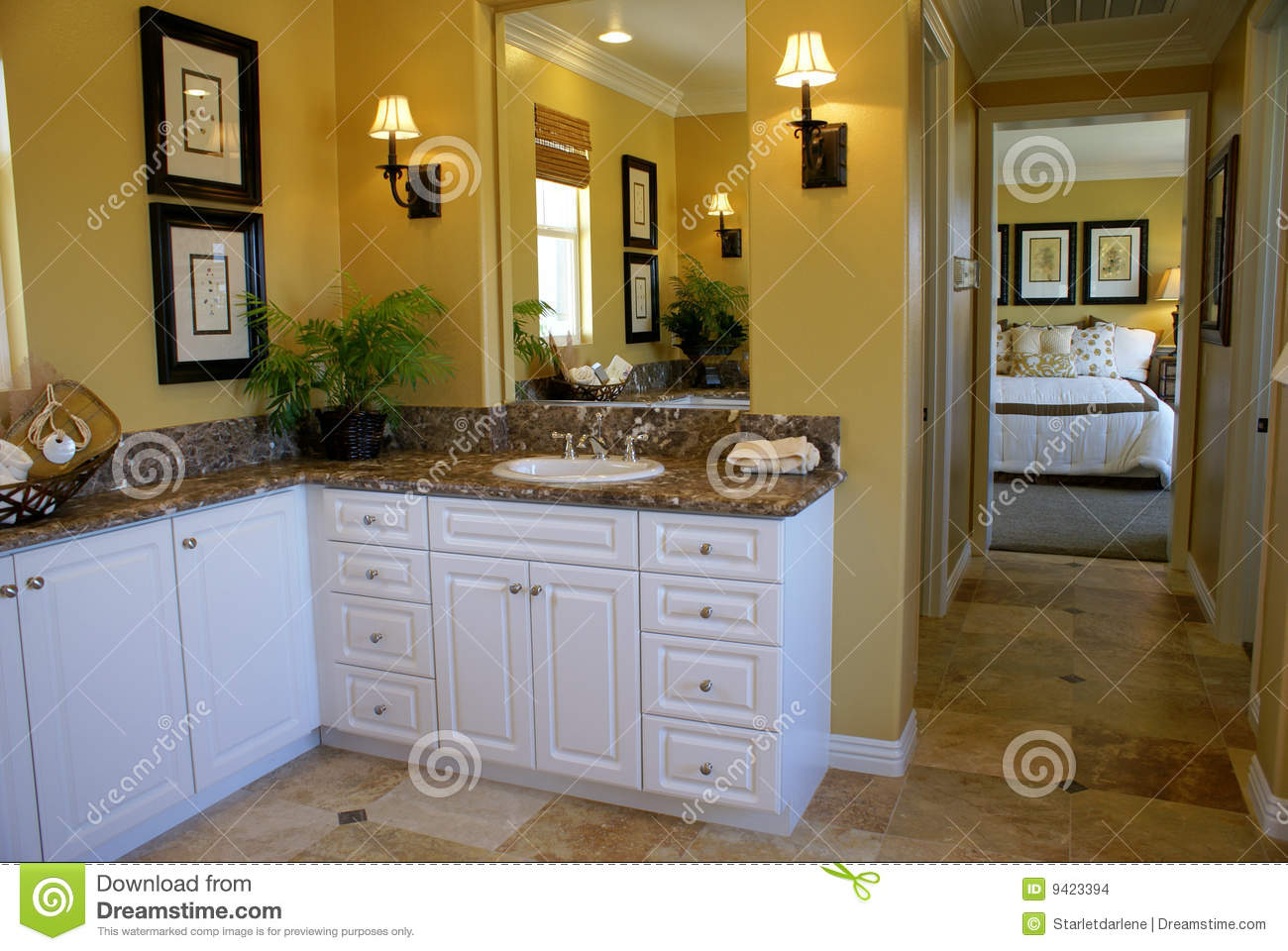 Yellow master bath room stock images image 9423394 - Bathrooms with yellow walls ...