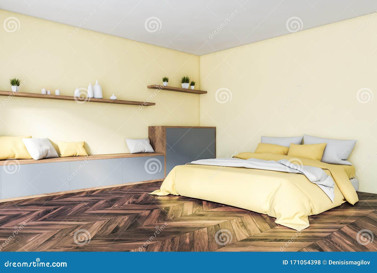 Yellow Master Bedroom Corner With Shelves Stock Illustration Illustration Of Luxury Modern 171054398