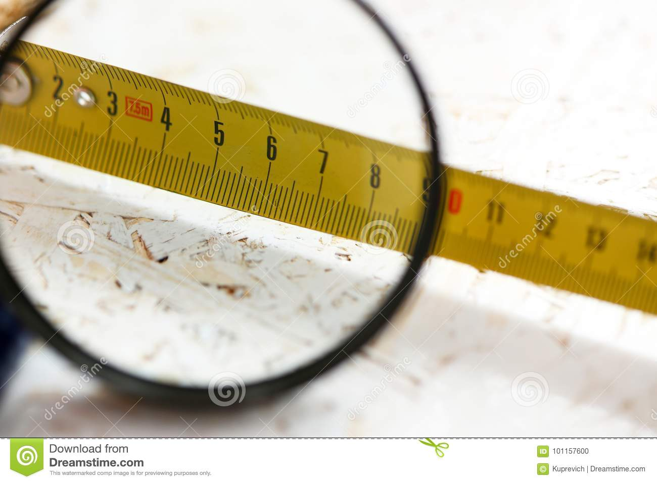 Yellow Measuring Tape Under Magnifying Glass Stock Photo Image Of