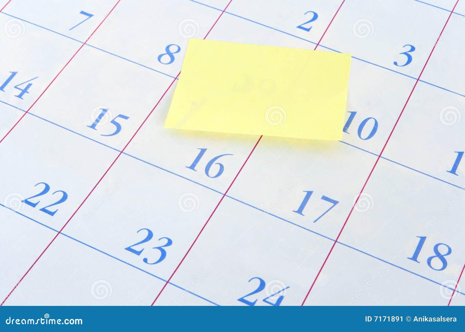 Weekly Calendar Sticky Notes : Blank sticky note on a calendar stock image