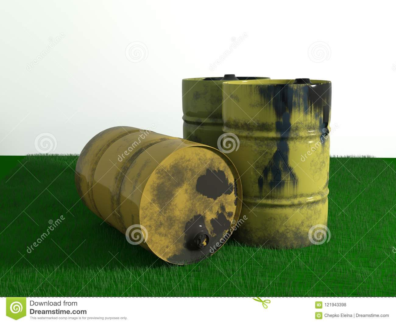 Yellow metal barrel oil on green grass, old dirty isolated on wh
