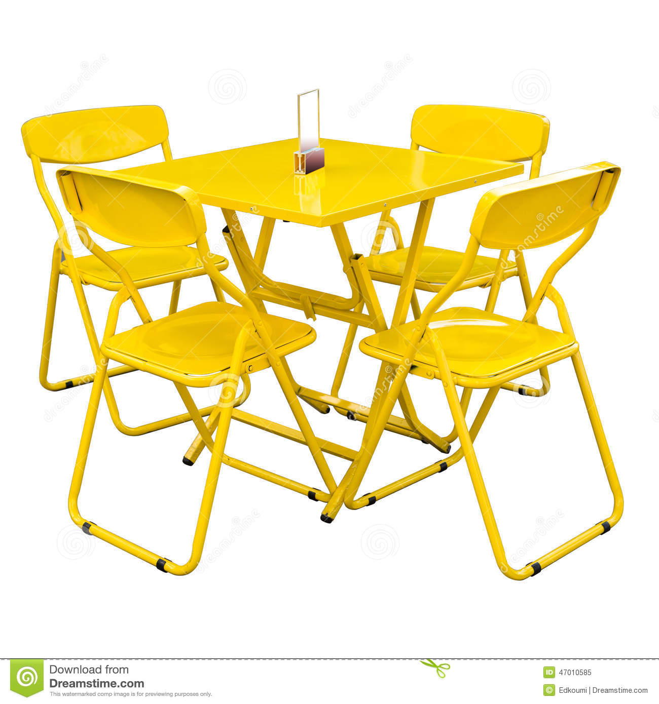 Yellow Metal Cafe Table And Chairs Outdoors On Whitewith Clipping - Metal cafe table and chairs