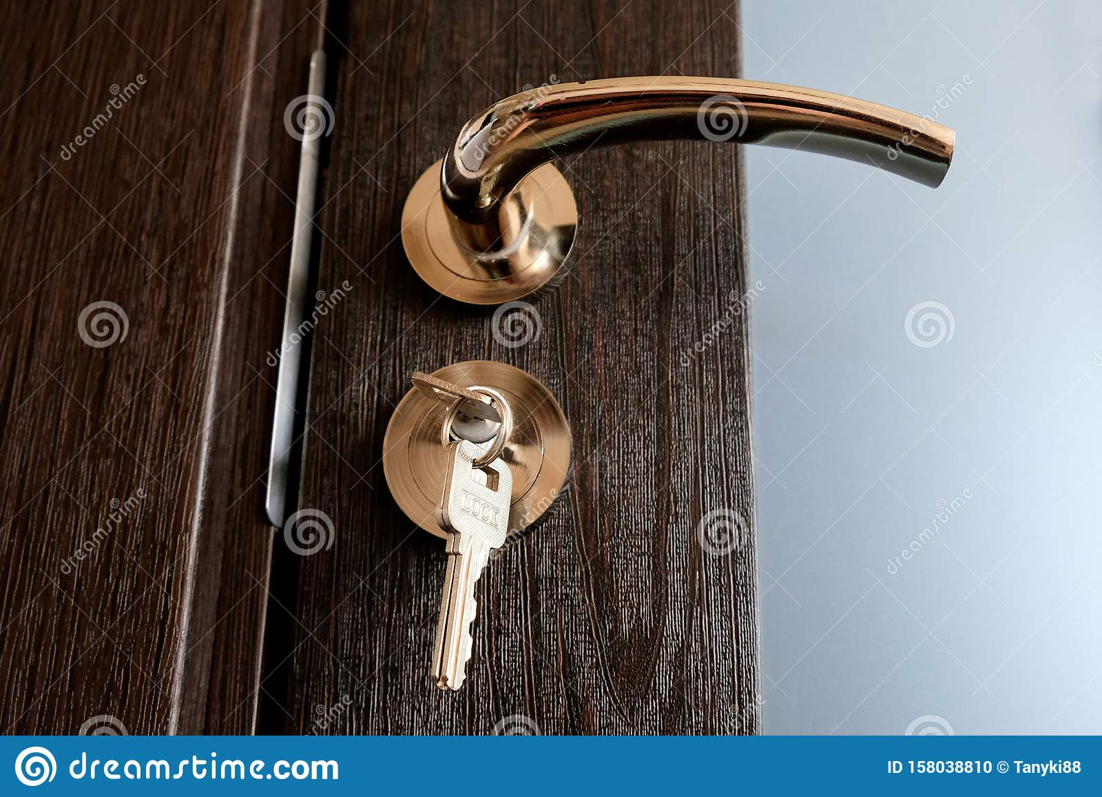 Yellow Metal Chrome Door Handle And Lock With Keys Stock Photo Image Of Gate Doorway 158038810