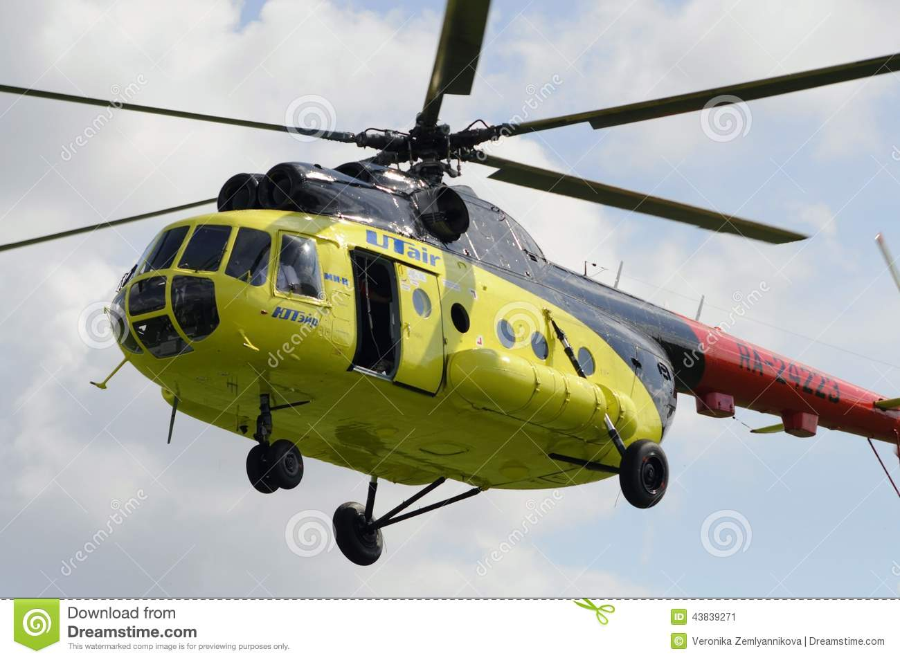 MI-8 Helicopter Flies For Fire Extinguishing Editorial ...