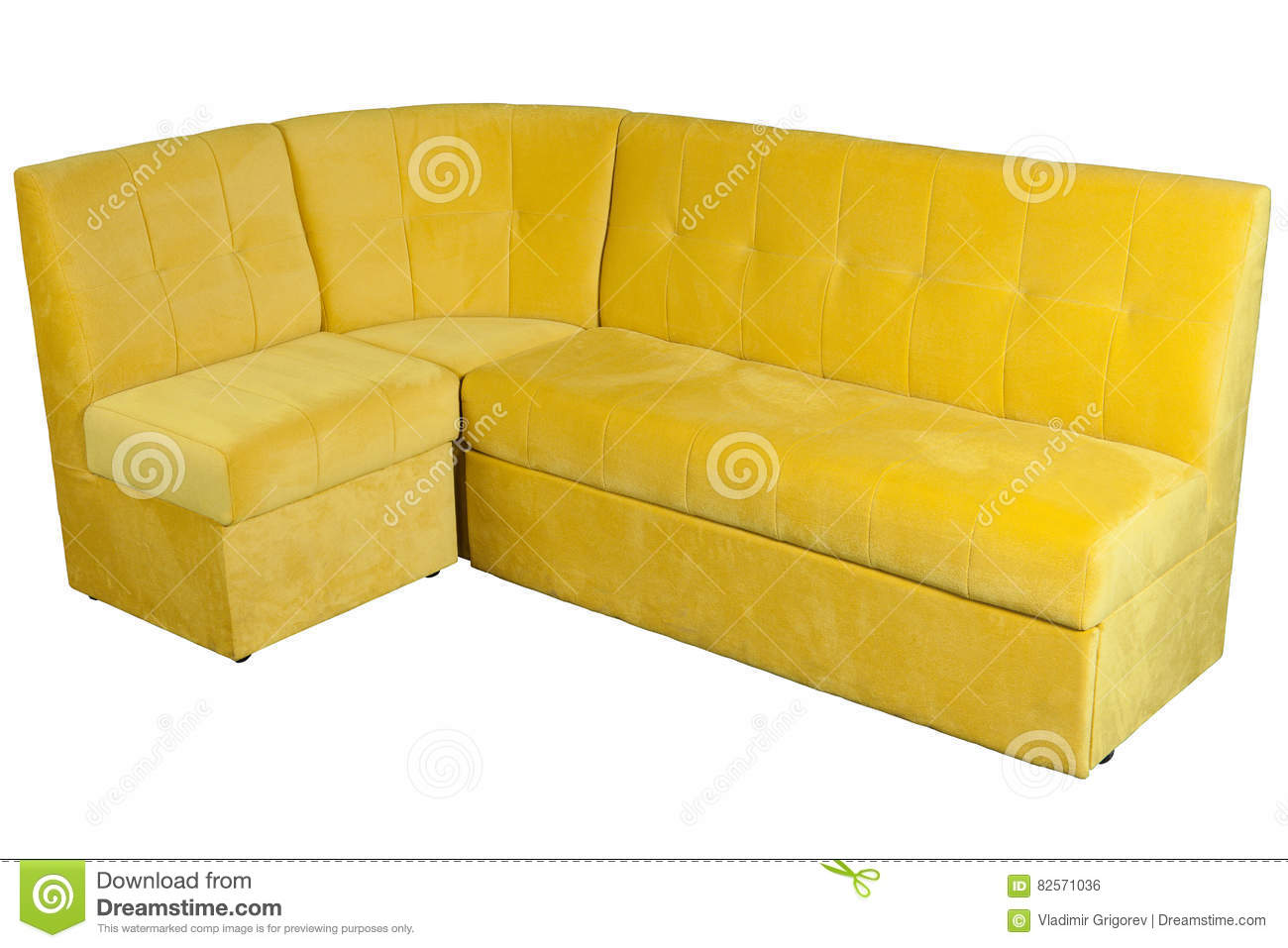 Download Yellow Microfiber Sofa For Diner Room With Storage Space. Stock  Photo   Image Of