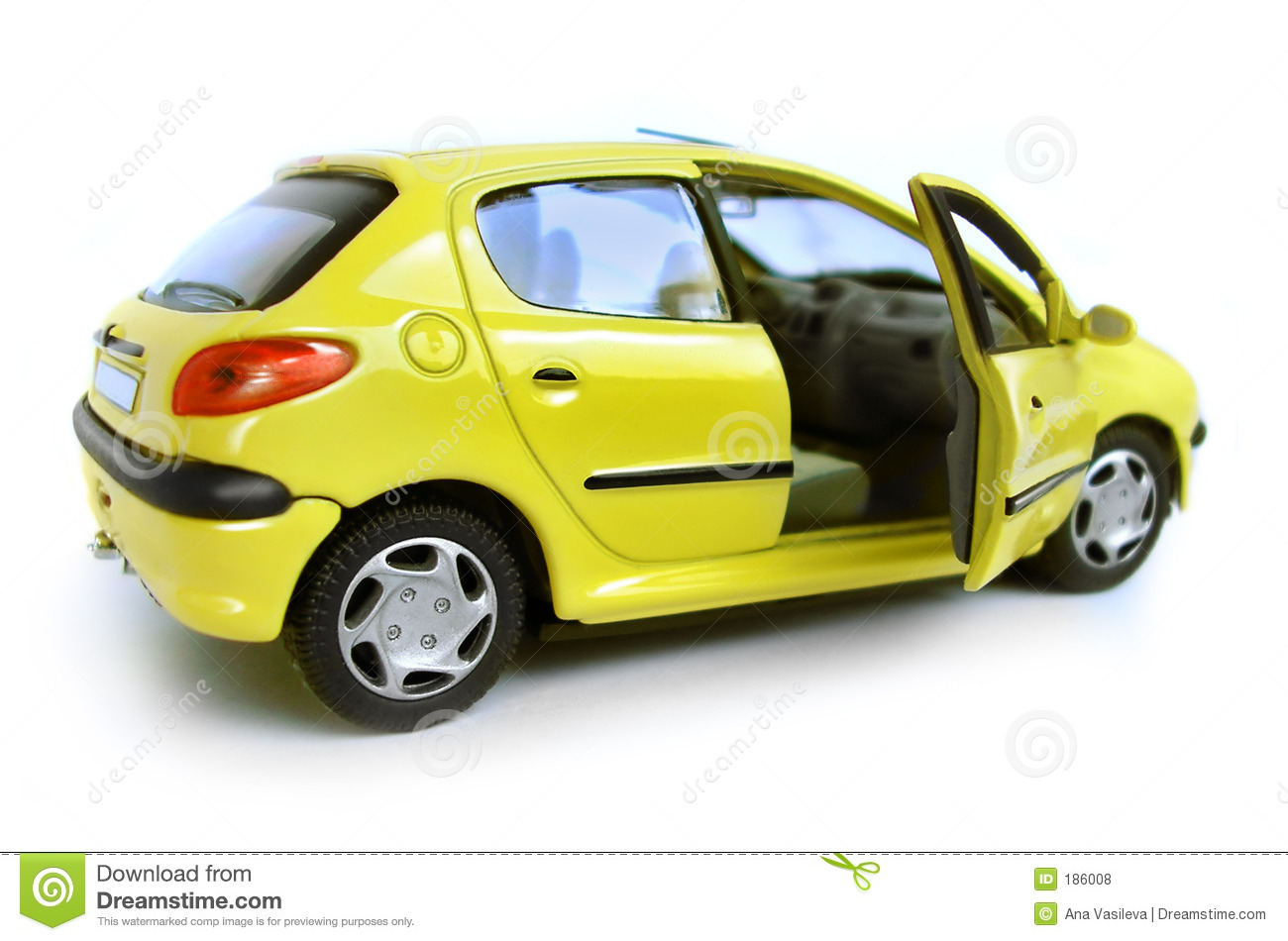 Yellow Model Car Hatchback Opened Right Door Royalty