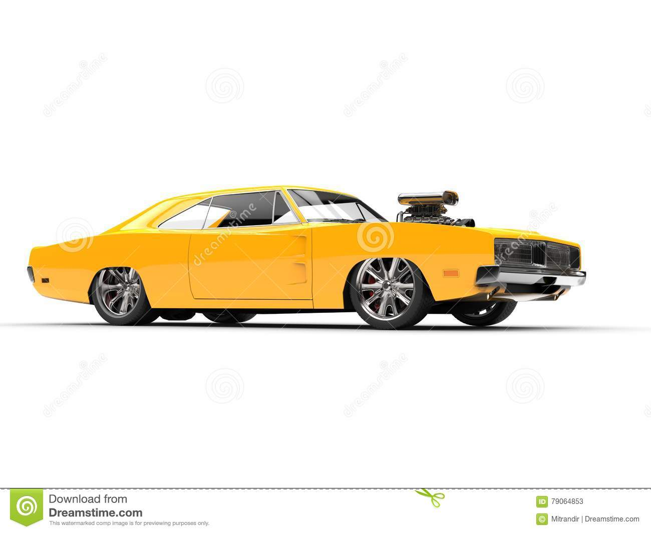Yellow Muscle Car Studio Shot Side View Stock Illustration