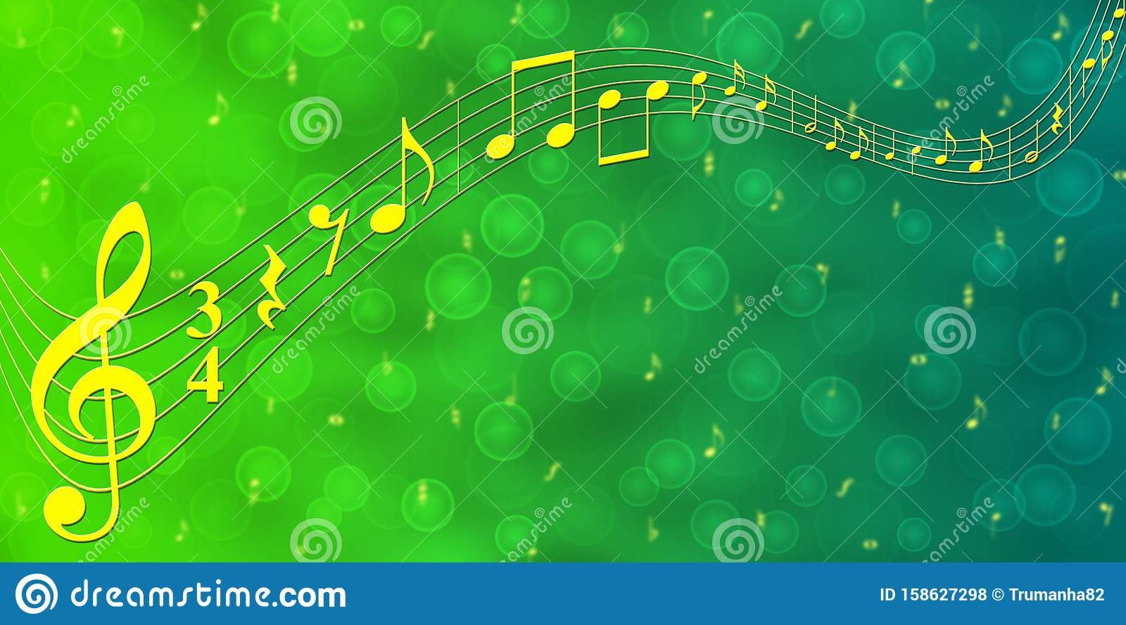 Yellow Music Notes In Green Gradient Banner Background Stock Photo - Image  Of Backdrops, Audio: 158627298