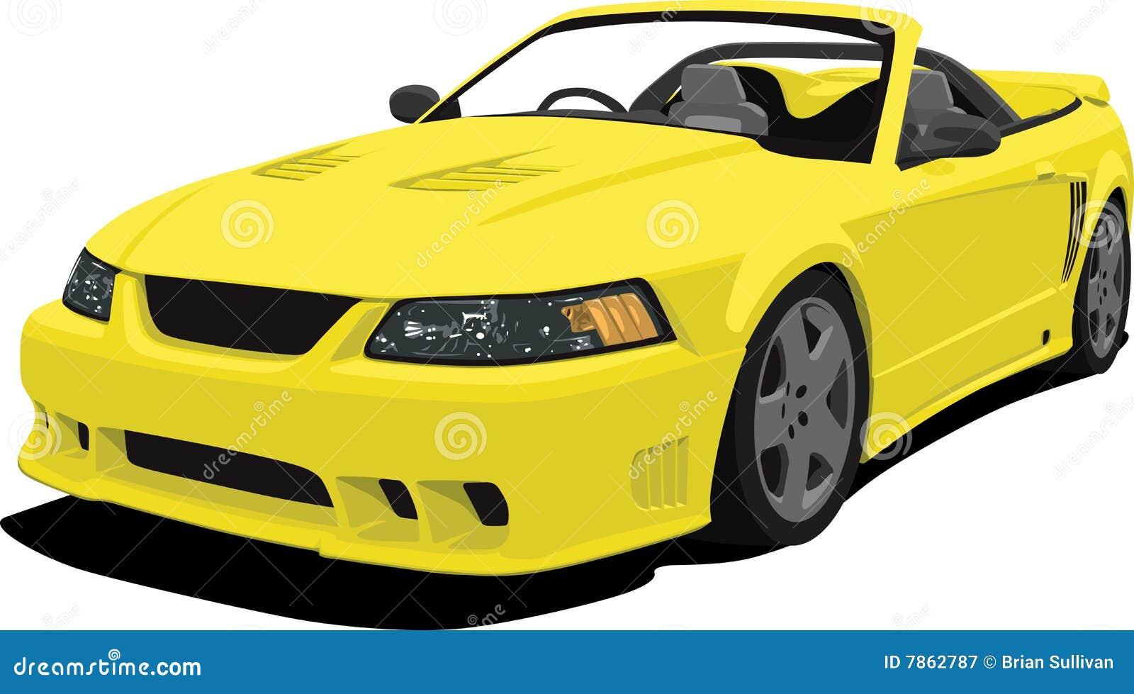 Yellow Mustang Convertible Sports Car Royalty Free Stock