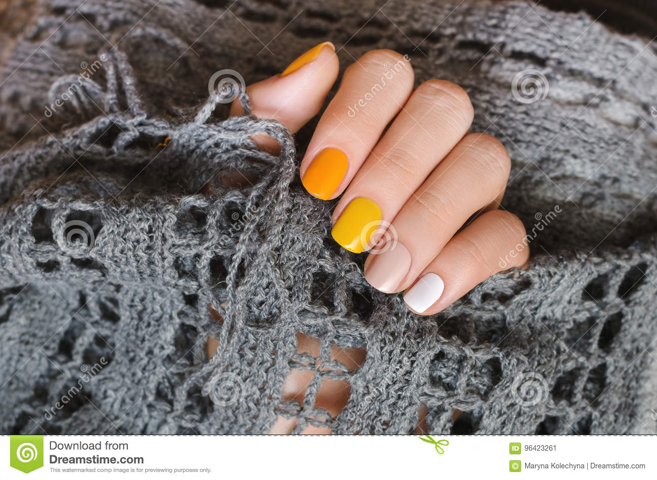 Yellow Nail Design Beautiful Female Hand With Manicure With Different Shades Of Yellow Stock Image Image Of Human Dots 96423261