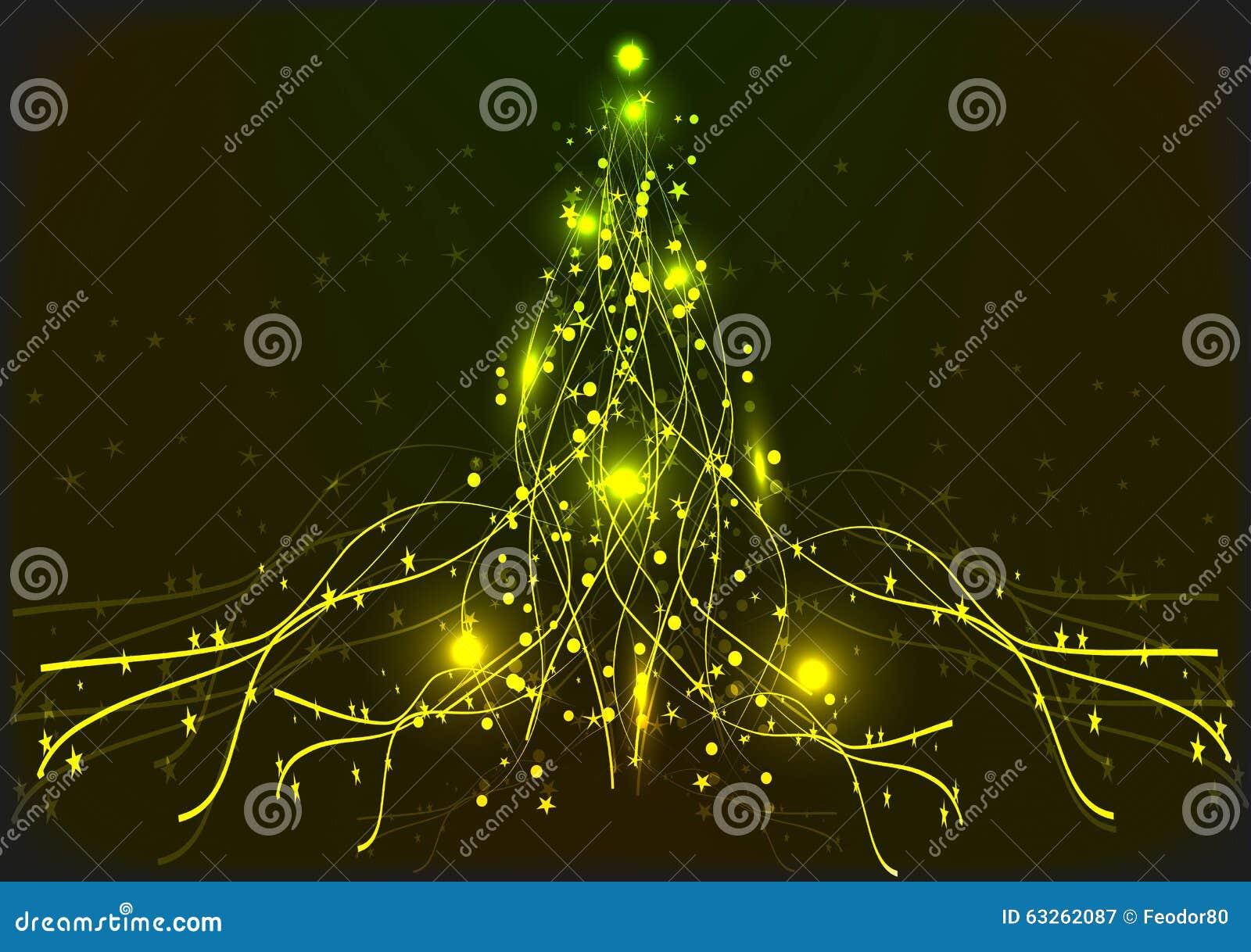 Yellow Neon Christmas Tree. Background. Stock Vector - Image: 63262087