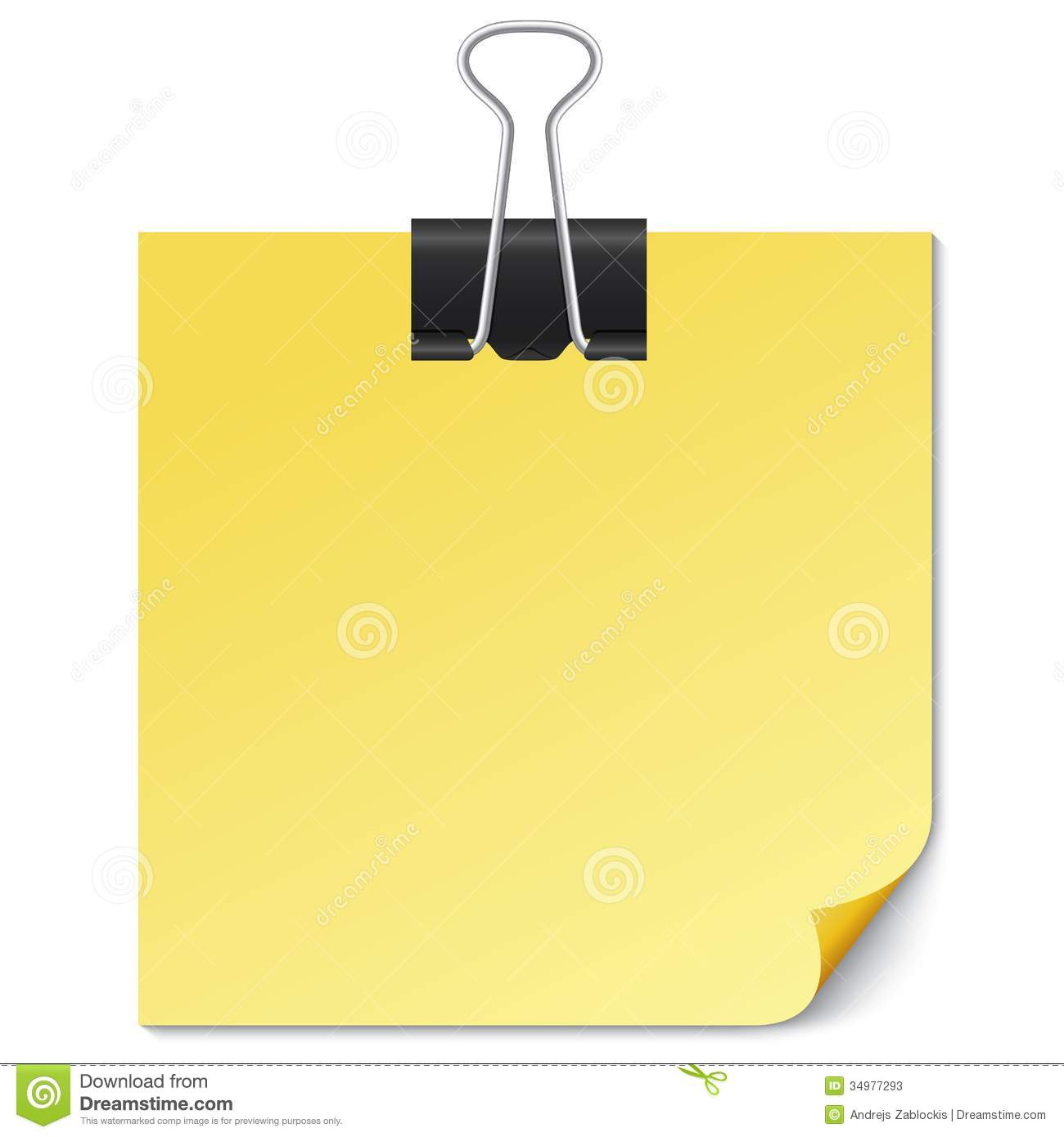 yellow note paper with binder clip on white. stock vector