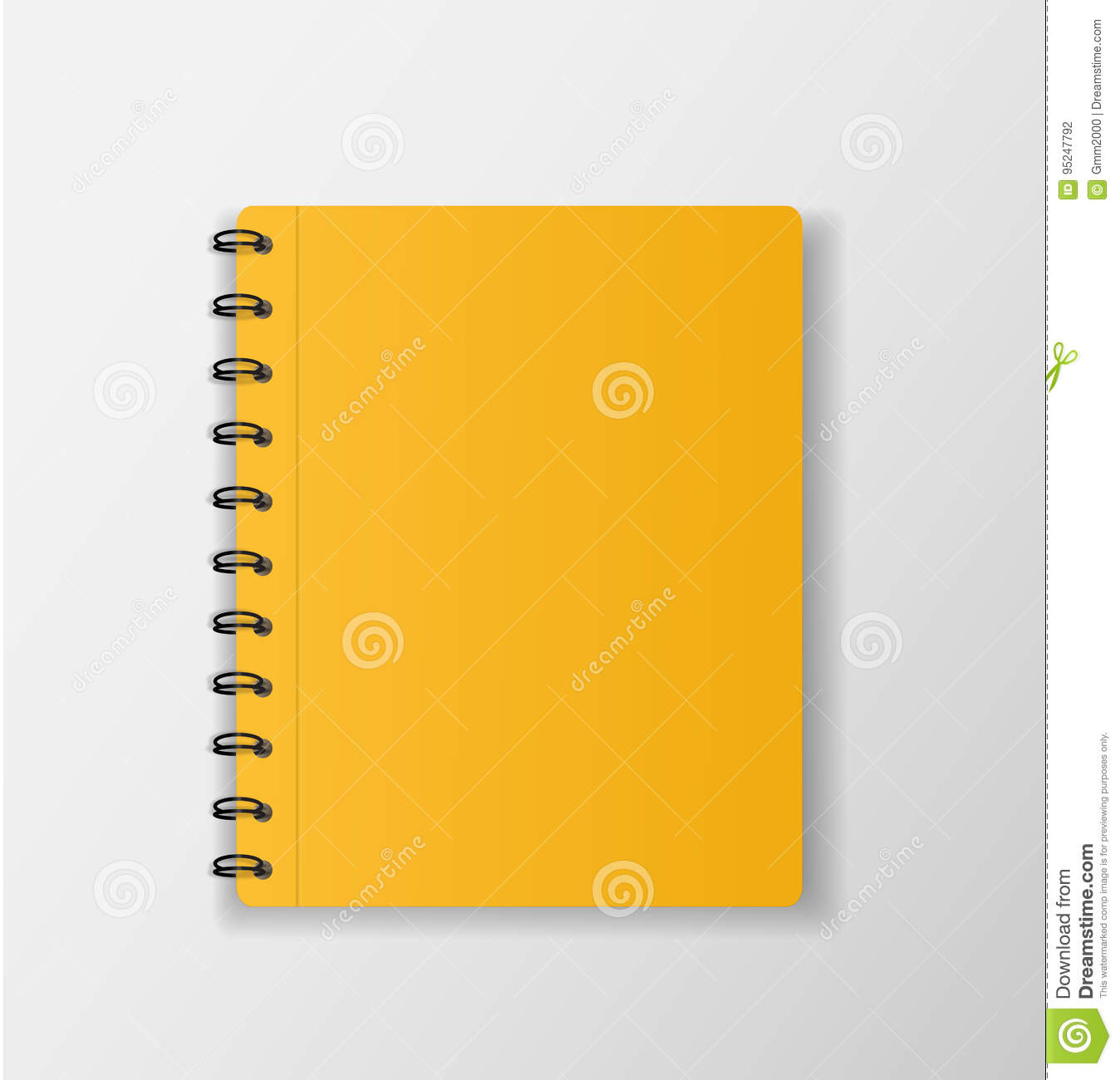 Yellow Notebook On White Background Blank Paper Cover Vector I Stock