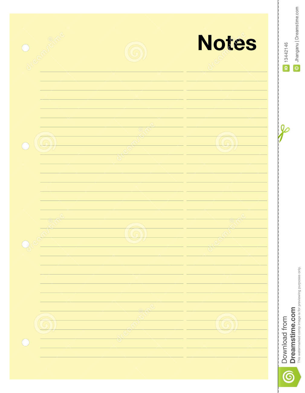 Yellow Notes Page Stock Vector Image Of Information