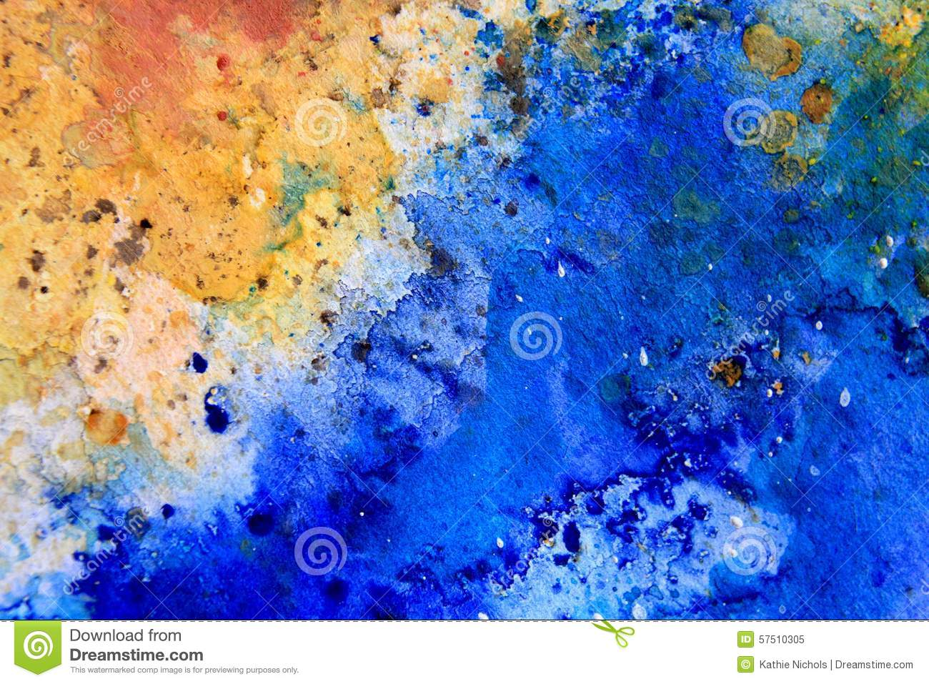 Yellow Ochre with Blue Watercolor Textures 6