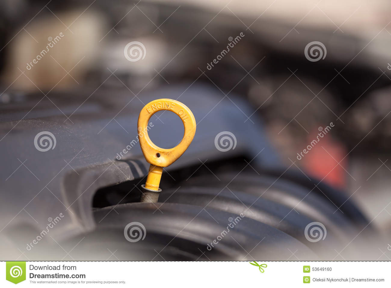 yellow oil dipstick in the car stock photography 53648264. Black Bedroom Furniture Sets. Home Design Ideas