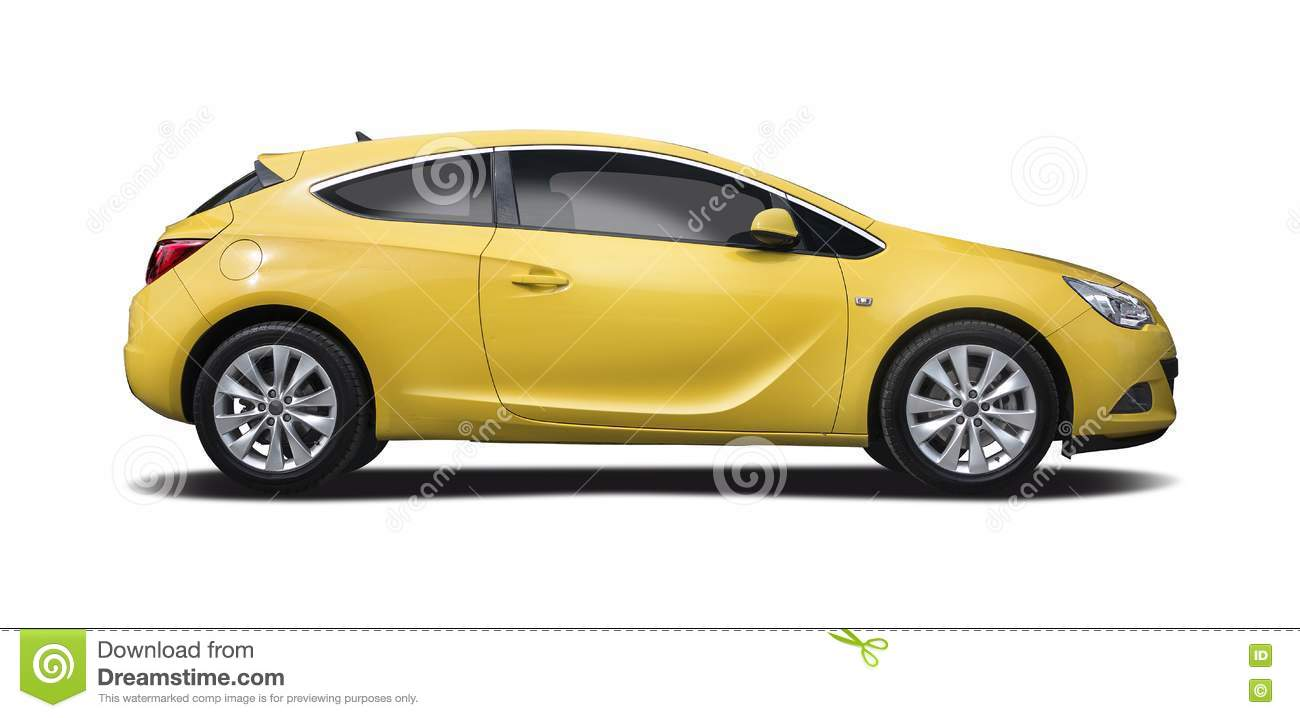 yellow opel astra coupe isolated stock photo image of coupe sport 72755942. Black Bedroom Furniture Sets. Home Design Ideas
