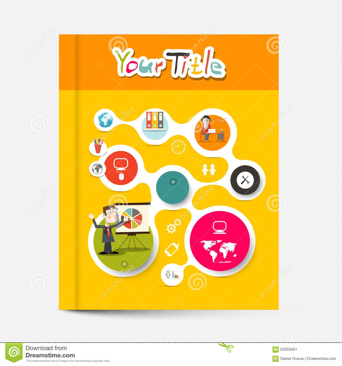 Business Book Cover Vector ~ Yellow and orange brochure business education book