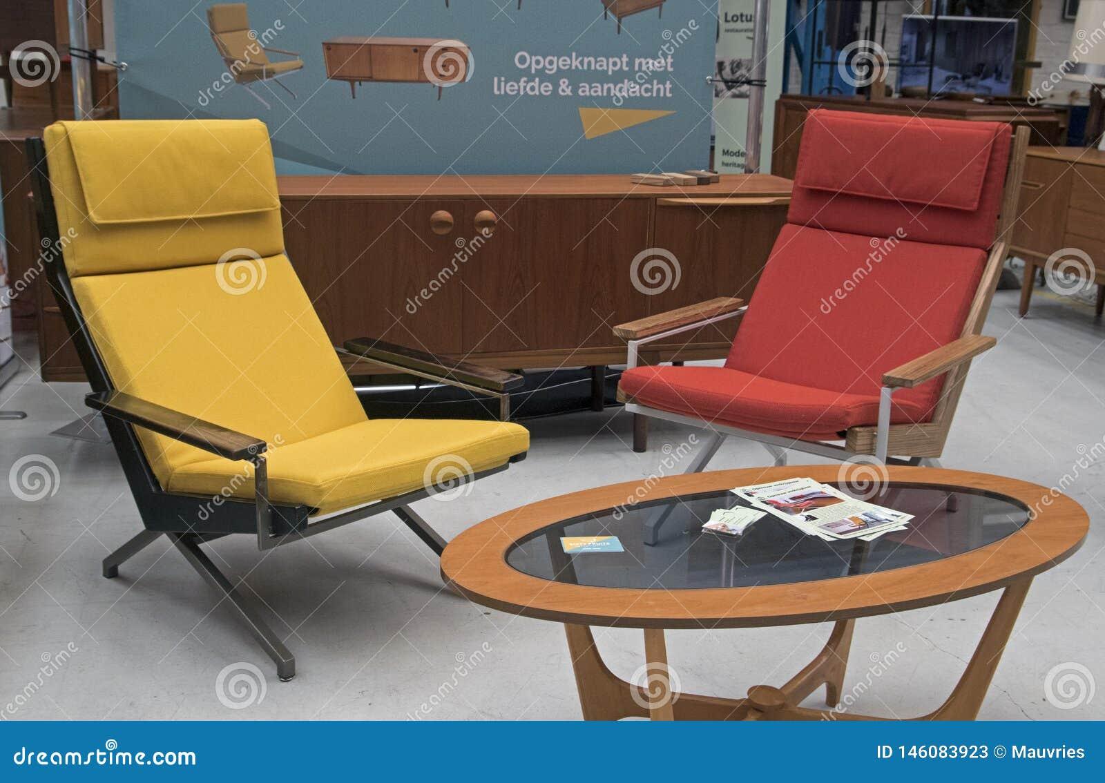 Super Yellow And Orange Design Chairs At A Vintage Furniture Fair Machost Co Dining Chair Design Ideas Machostcouk