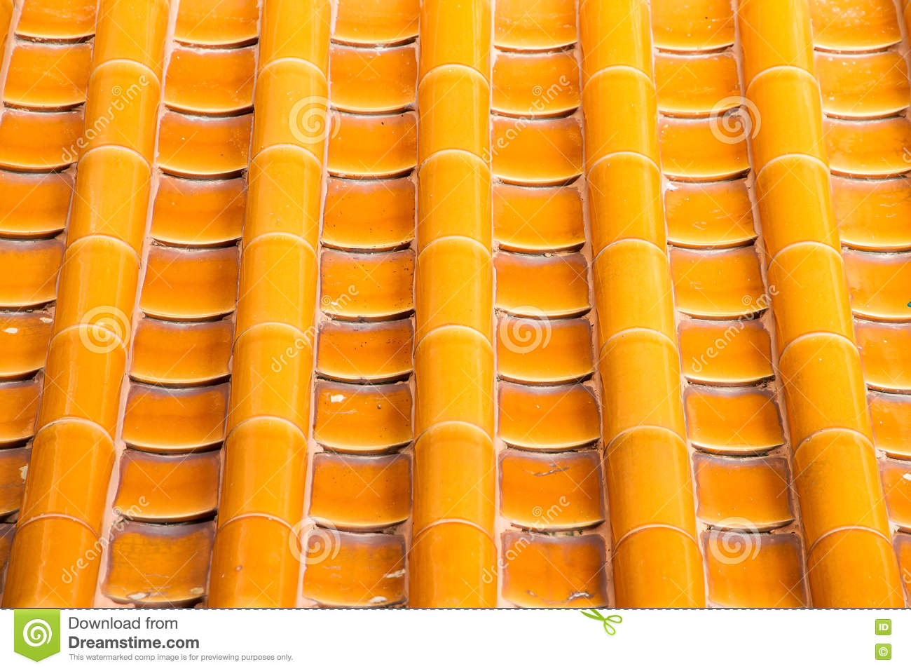 Yellow Orange Glazed Terracotta Roof Tiles Of A Chinese