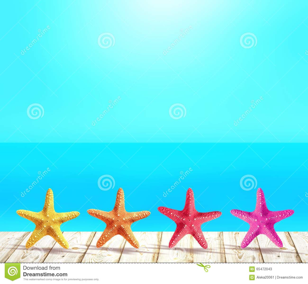 Wood Floor On Beach Sea And Blue Sky For Background Stock: Yellow, Orange, Red And Pink Sea Stars Standing In A Row