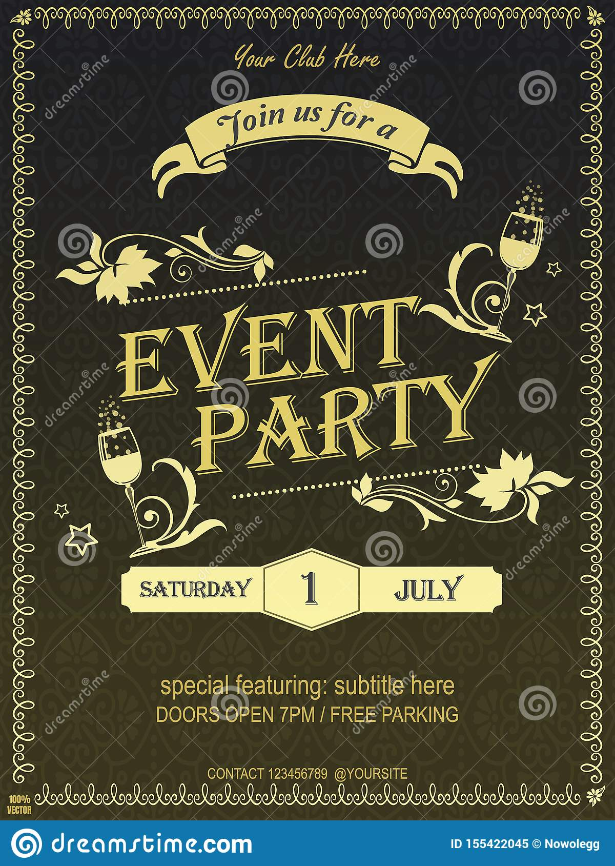 Yellow Ornate Vintage Event Invitation Card Design Poster