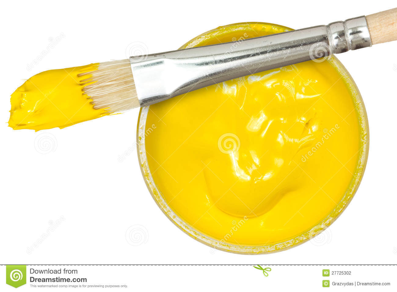 Yellow paint with paintbrush stock photography image for White paint going yellow